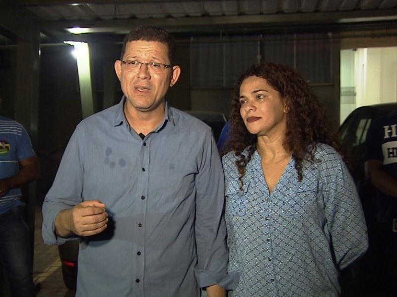 Marcos Rocha e esposa após vitória (Foto: Reprodução Rede Amaz�\�nica)