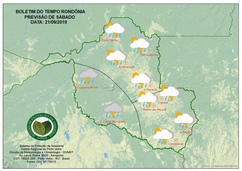 Previsão do tempo para o sábado (21) em Rond�\�nia (Foto: Sipam/Divulgação)